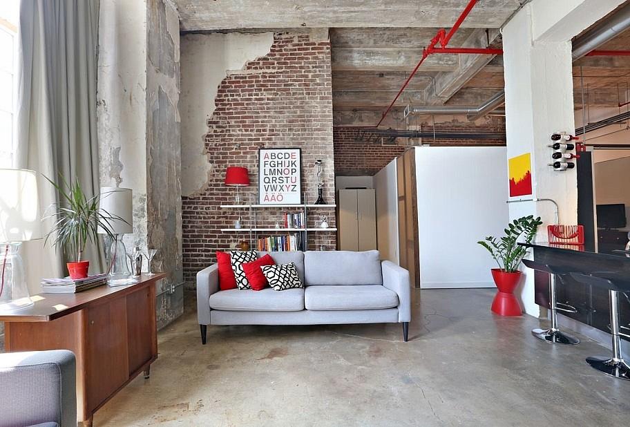 Модерн в дизайне гостиной в стиле лофт