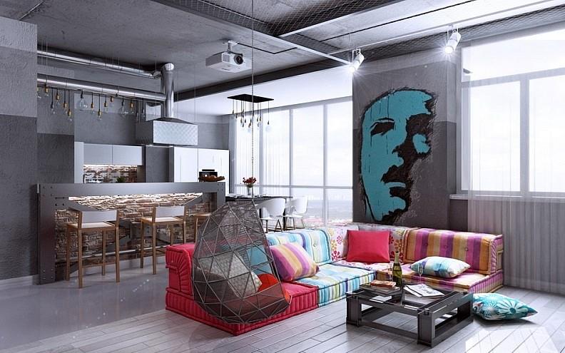 Поп арт с элементами hi Tech и лофт в дизайне гостиной