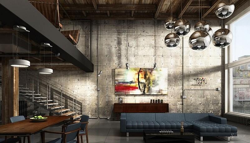 Комбинирование стиля лофт и минимализма в интерьере квартиры